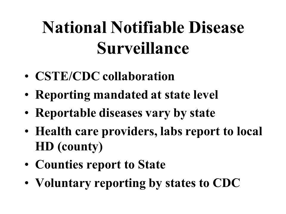 National Notifiable Disease Surveillance CSTE/CDC collaboration Reporting mandated at state level Reportable diseases vary by state Health care provid
