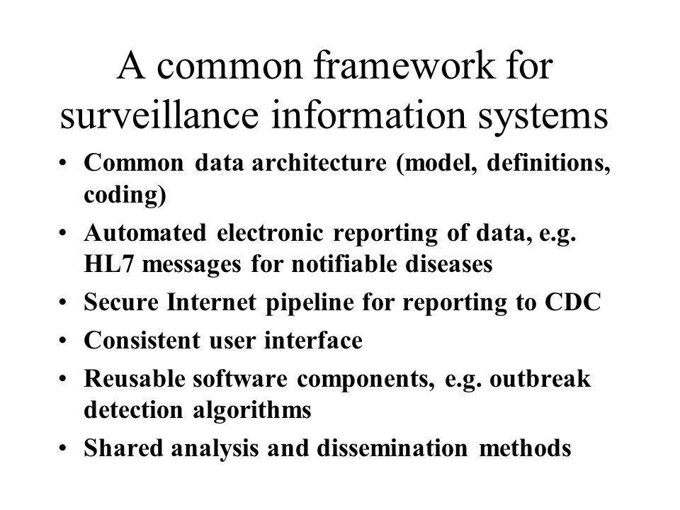 A common framework for surveillance information systems Common data architecture (model, definitions, coding) Automated electronic reporting of data,