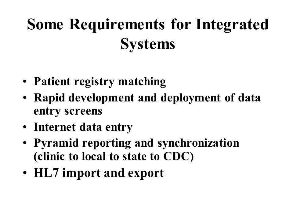 Some Requirements for Integrated Systems Patient registry matching Rapid development and deployment of data entry screens Internet data entry Pyramid