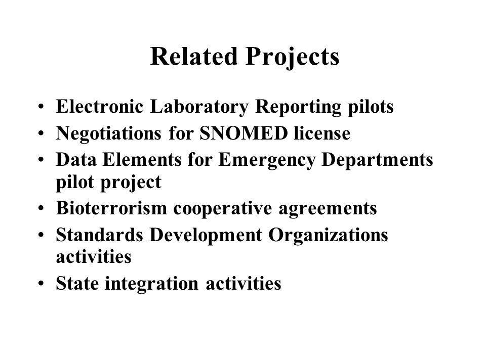 Related Projects Electronic Laboratory Reporting pilots Negotiations for SNOMED license Data Elements for Emergency Departments pilot project Bioterro