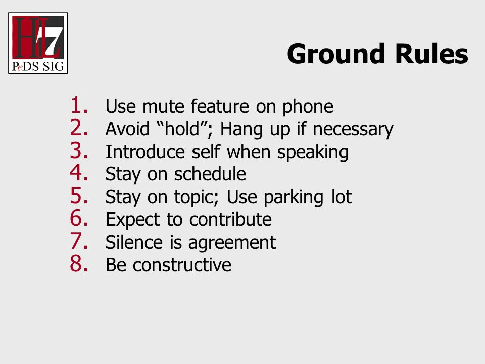 1. Use mute feature on phone 2. Avoid hold; Hang up if necessary 3. Introduce self when speaking 4. Stay on schedule 5. Stay on topic; Use parking lot