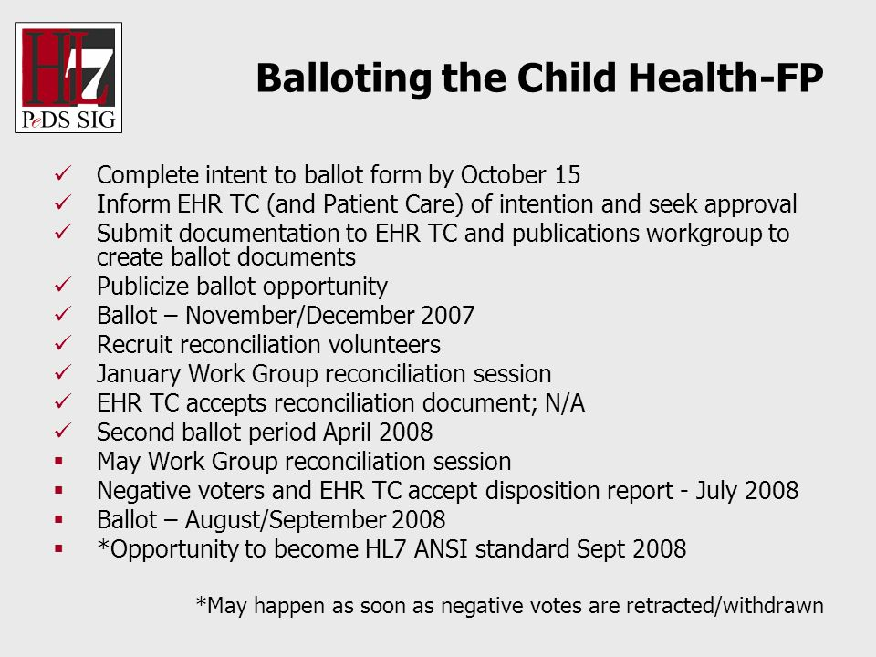 Balloting the Child Health-FP Complete intent to ballot form by October 15 Inform EHR TC (and Patient Care) of intention and seek approval Submit docu