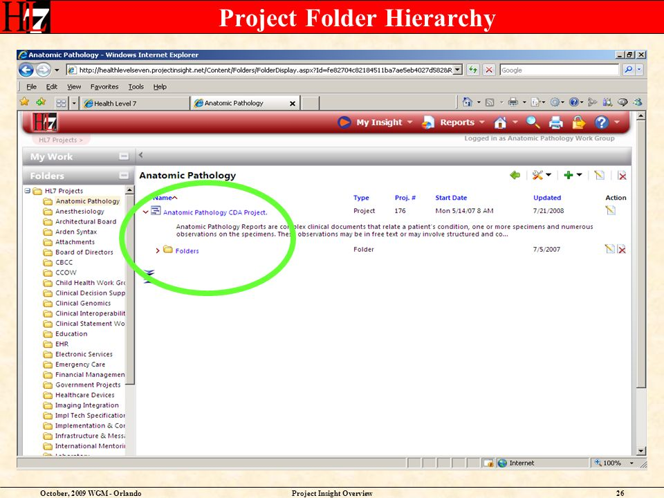 October, 2009 WGM - OrlandoProject Insight Overview26 Project Folder Hierarchy