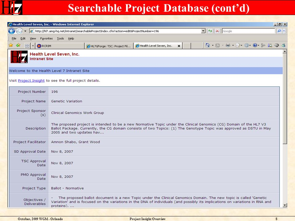 October, 2009 WGM - OrlandoProject Insight Overview19 HL7 Project Scope Statement – Where it all begins