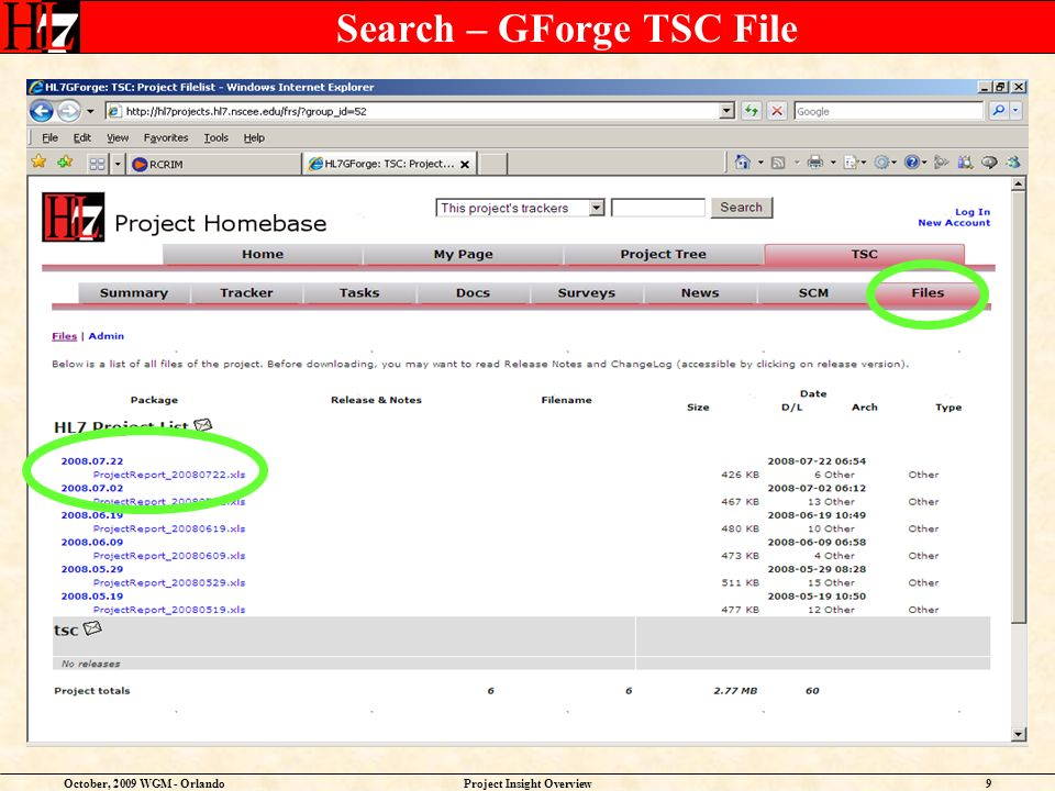 October, 2009 WGM - OrlandoProject Insight Overview9 Search – GForge TSC File