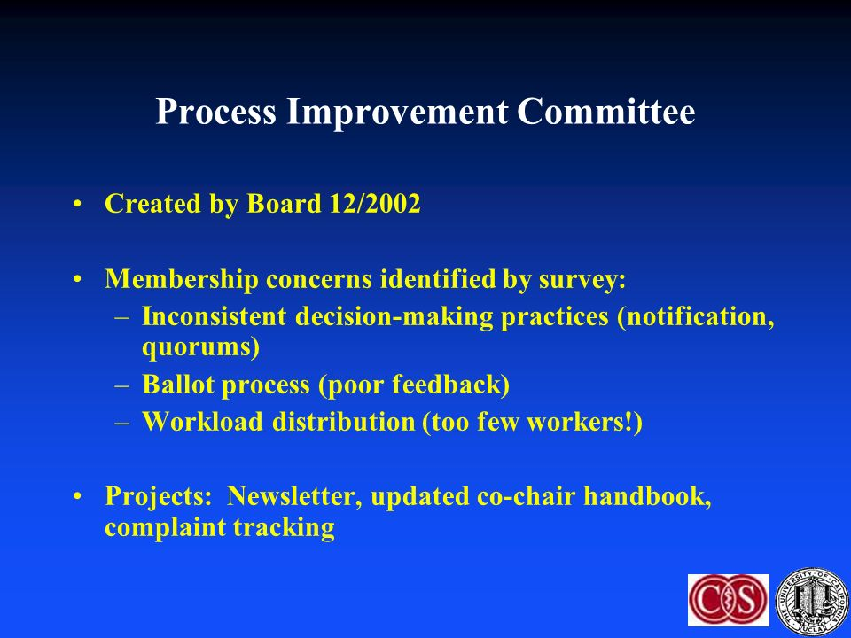 Process Improvement Committee Created by Board 12/2002 Membership concerns identified by survey: –Inconsistent decision-making practices (notification