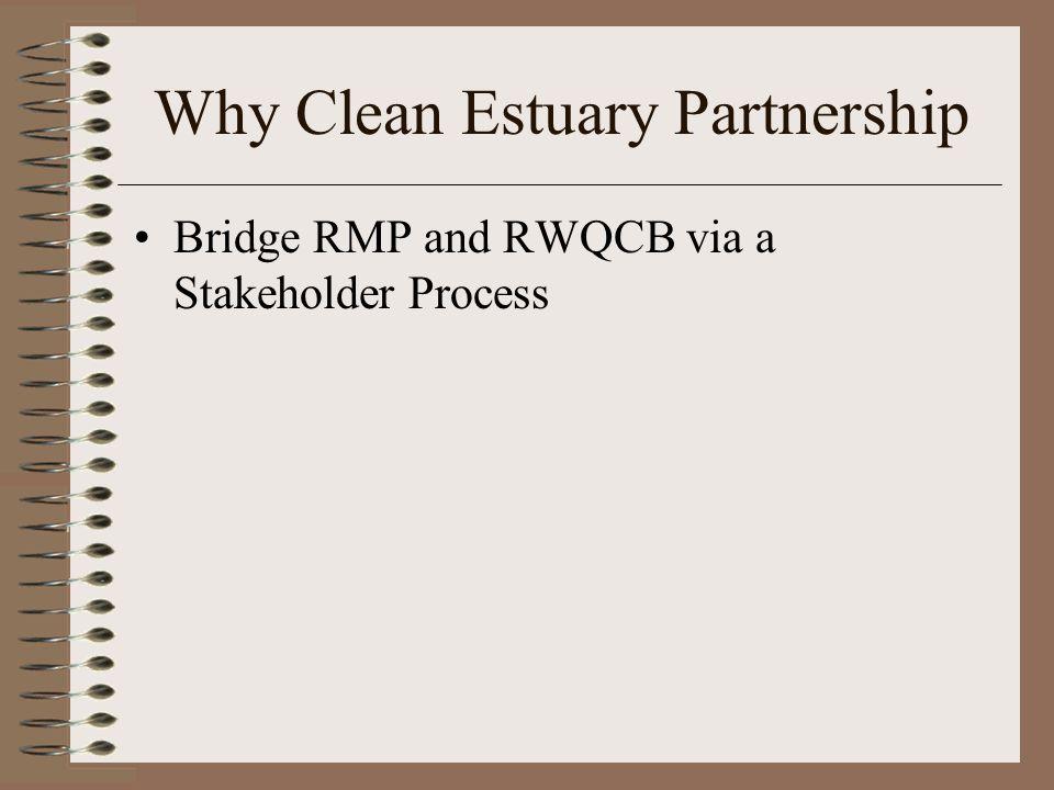 Why Clean Estuary Partnership Bridge RMP and RWQCB via a Stakeholder Process