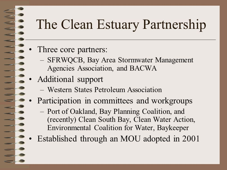 The Clean Estuary Partnership Three core partners: –SFRWQCB, Bay Area Stormwater Management Agencies Association, and BACWA Additional support –Western States Petroleum Association Participation in committees and workgroups –Port of Oakland, Bay Planning Coalition, and (recently) Clean South Bay, Clean Water Action, Environmental Coalition for Water, Baykeeper Established through an MOU adopted in 2001