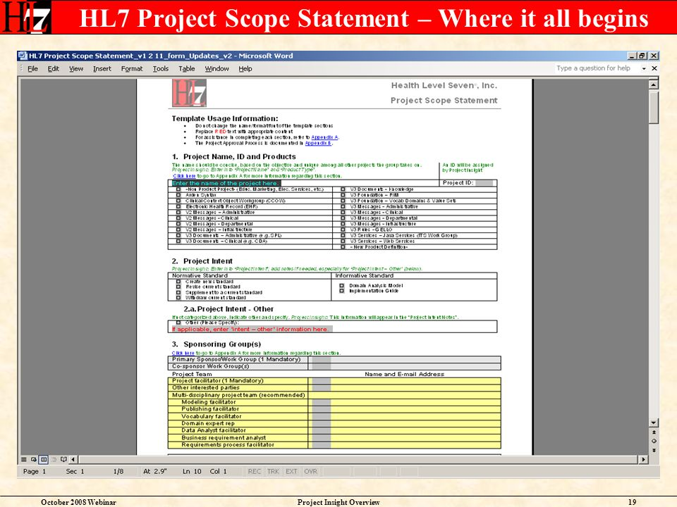October 2008 WebinarProject Insight Overview19 HL7 Project Scope Statement – Where it all begins