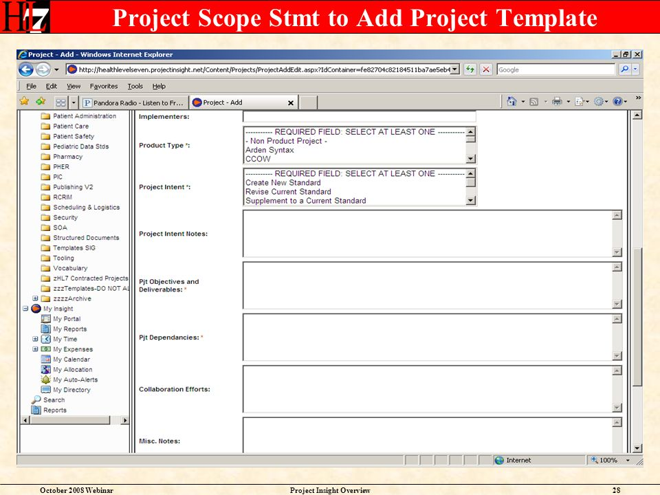 October 2008 WebinarProject Insight Overview28 Project Scope Stmt to Add Project Template
