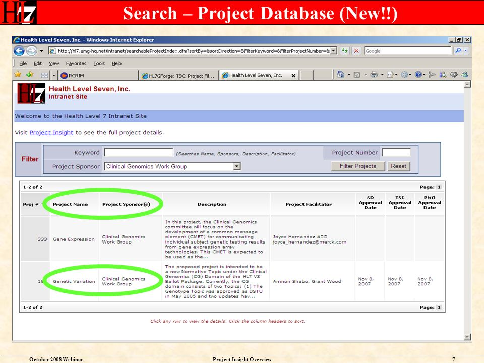October 2008 WebinarProject Insight Overview7 Search – Project Database (New!!)