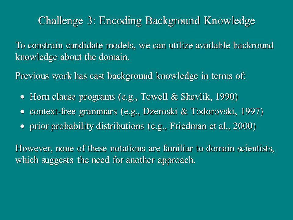 Challenge 3: Encoding Background Knowledge Horn clause programs (e.g., Towell & Shavlik, 1990) Horn clause programs (e.g., Towell & Shavlik, 1990) context-free grammars (e.g., Dzeroski & Todorovski, 1997) context-free grammars (e.g., Dzeroski & Todorovski, 1997) prior probability distributions (e.g., Friedman et al., 2000) prior probability distributions (e.g., Friedman et al., 2000) To constrain candidate models, we can utilize available backround knowledge about the domain.