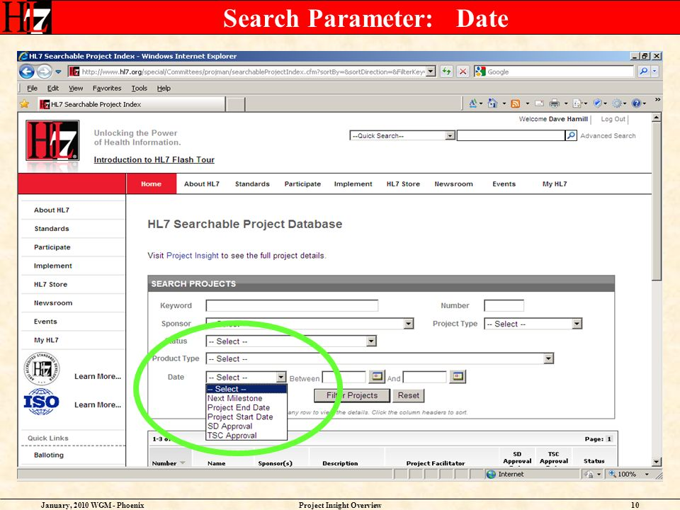 January, 2010 WGM - PhoenixProject Insight Overview10 Search Parameter: Date