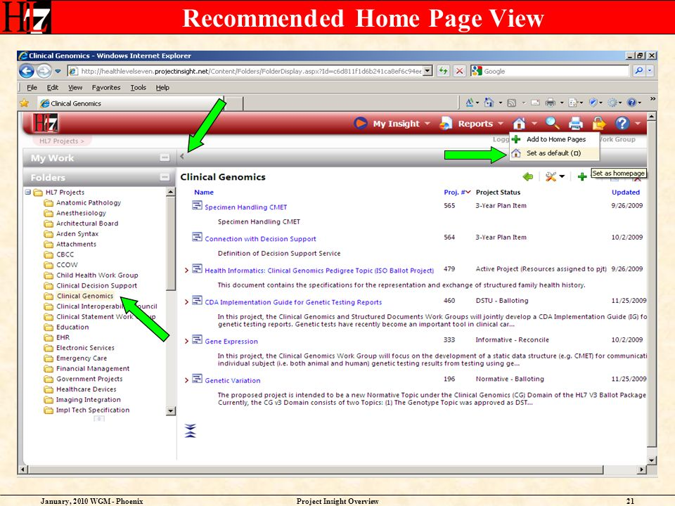 January, 2010 WGM - PhoenixProject Insight Overview21 Recommended Home Page View
