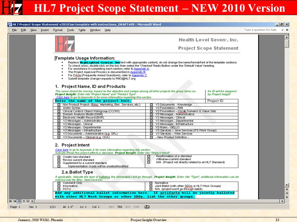 January, 2010 WGM - PhoenixProject Insight Overview23 HL7 Project Scope Statement – NEW 2010 Version
