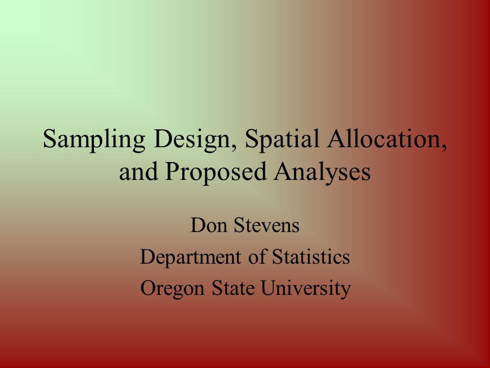 Proposed Analyses Spatial displays –Contour plots –Perspective plots –Hexagon mosaic plots –Multivariate displays