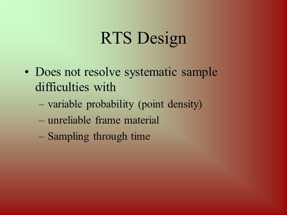 RTS Design Does not resolve systematic sample difficulties with –variable probability (point density) –unreliable frame material –Sampling through time