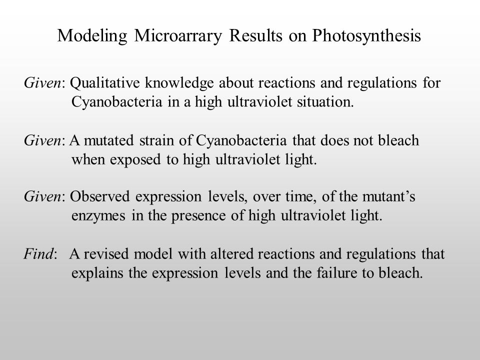 Modeling Microarrary Results on Photosynthesis Given: A mutated strain of Cyanobacteria that does not bleach when exposed to high ultraviolet light.