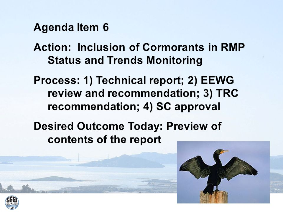 Agenda Item 6 Action: Inclusion of Cormorants in RMP Status and Trends Monitoring Process: 1) Technical report; 2) EEWG review and recommendation; 3) TRC recommendation; 4) SC approval Desired Outcome Today: Preview of contents of the report