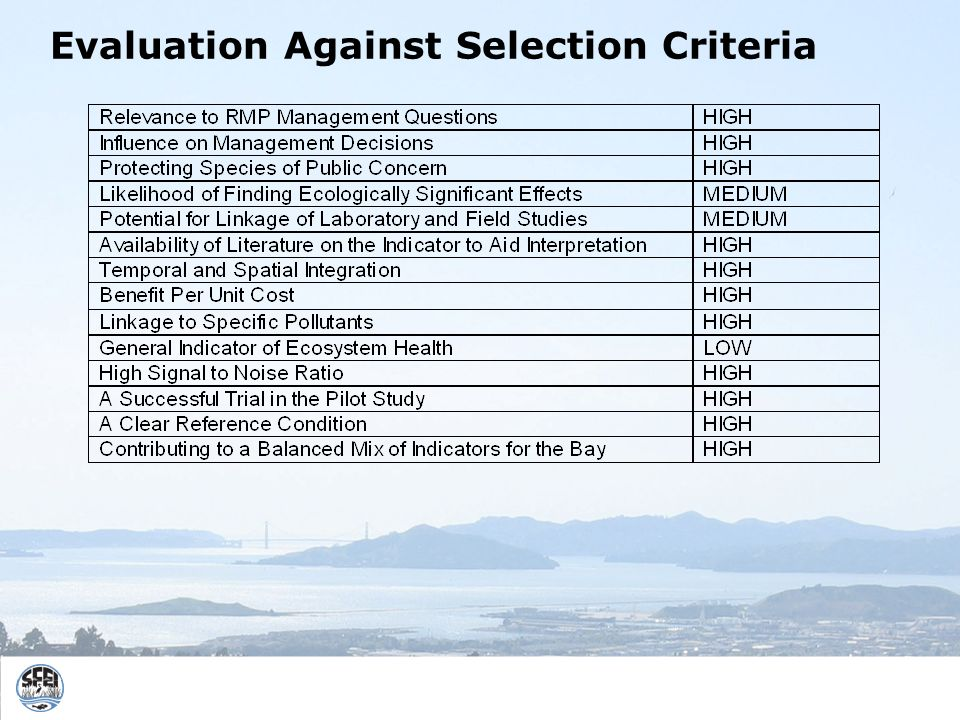 Evaluation Against Selection Criteria