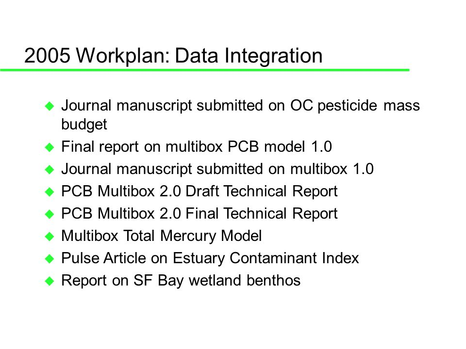 2005 Workplan: Data Integration Journal manuscript submitted on OC pesticide mass budget Final report on multibox PCB model 1.0 Journal manuscript submitted on multibox 1.0 PCB Multibox 2.0 Draft Technical Report PCB Multibox 2.0 Final Technical Report Multibox Total Mercury Model Pulse Article on Estuary Contaminant Index Report on SF Bay wetland benthos