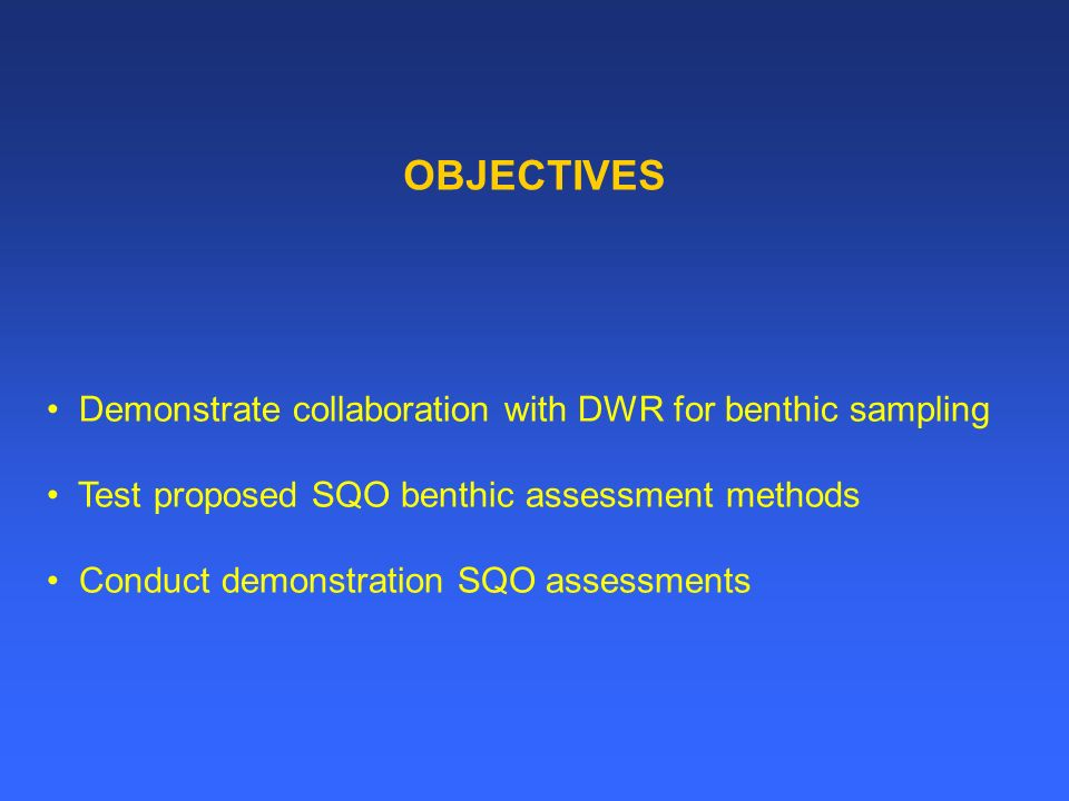 Option 1: Demonstration with DWR in San Pablo– and Suisun Bays RMP staff will accompany DWR on their October cruise Sample 4 sites each in San Pablo-, and Suisun Bays - DWR: benthic samples - RMP sediment chemistry and toxicity samples using current RMP protocols Estimated Cost: $47,000