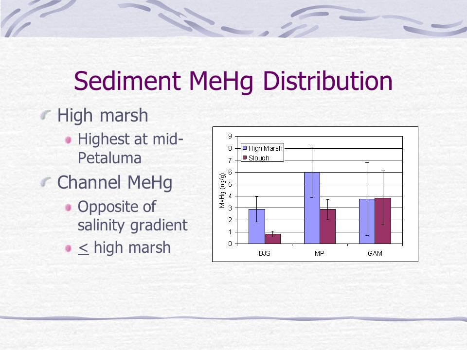 Sediment MeHg Distribution High marsh Highest at mid- Petaluma Channel MeHg Opposite of salinity gradient < high marsh