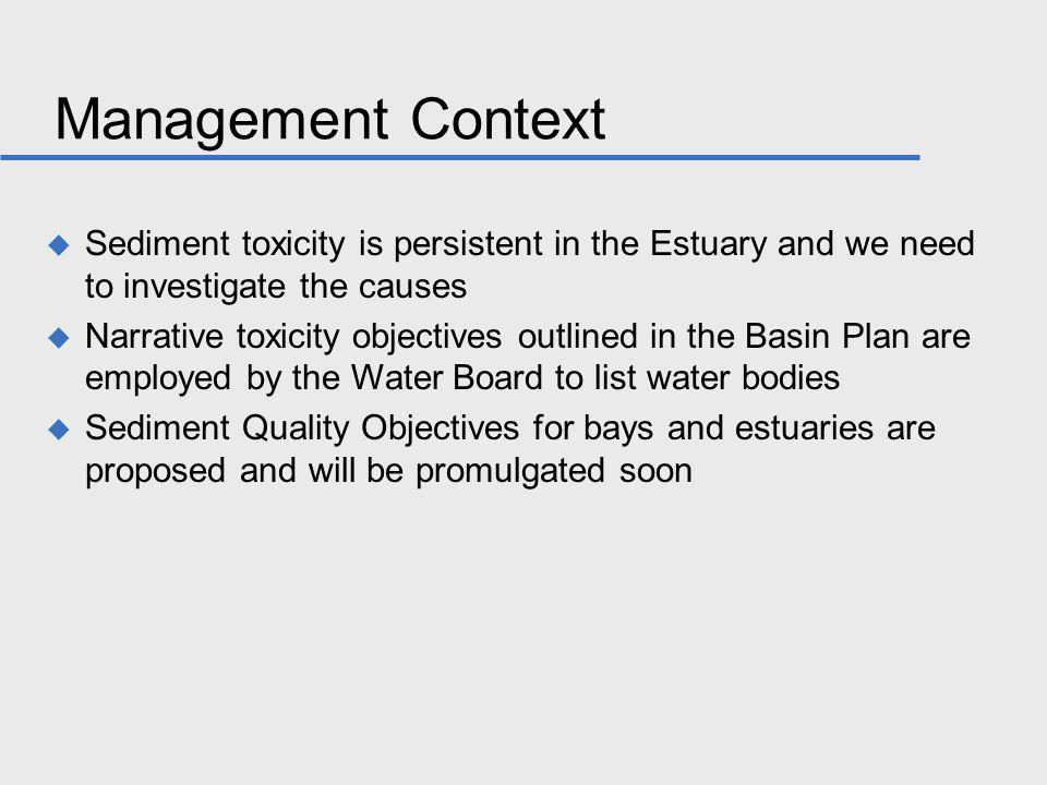 Management Context Sediment toxicity is persistent in the Estuary and we need to investigate the causes Narrative toxicity objectives outlined in the Basin Plan are employed by the Water Board to list water bodies Sediment Quality Objectives for bays and estuaries are proposed and will be promulgated soon