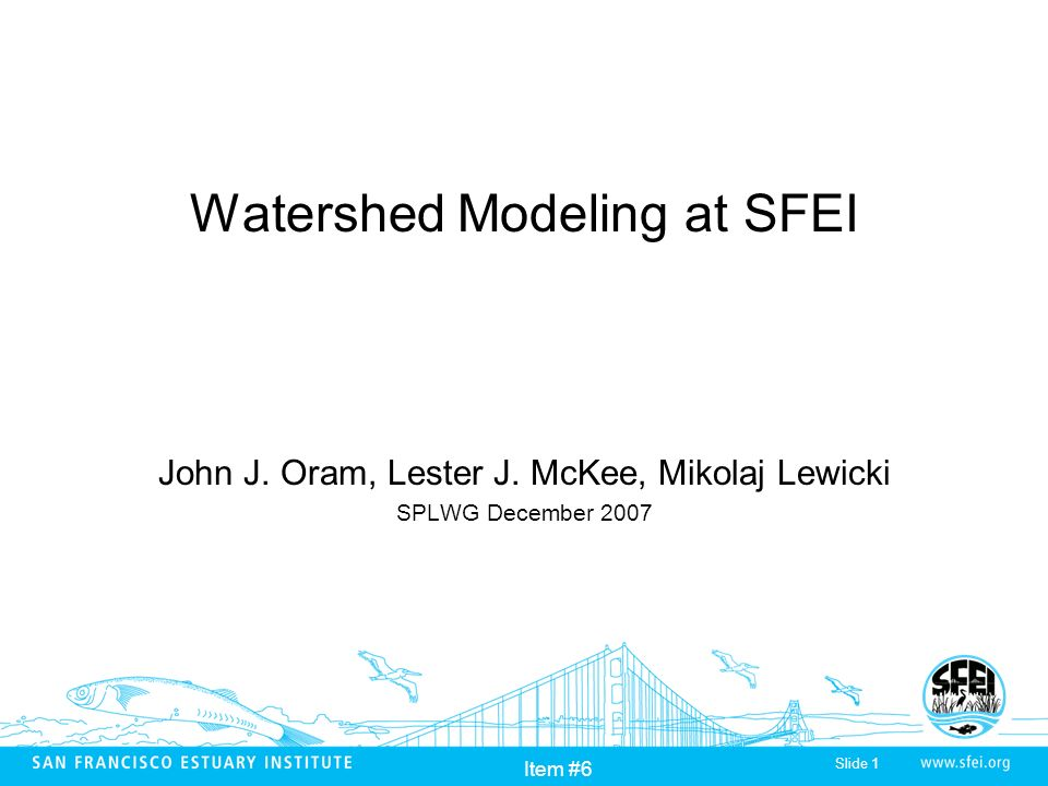 Slide 1 Item #6 Watershed Modeling at SFEI John J.