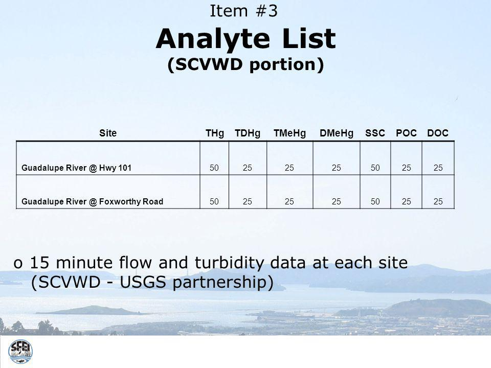 Analyte List (SCVWD portion) SiteTHgTDHgTMeHgDMeHgSSCPOCDOC Guadalupe Hwy Guadalupe Foxworthy Road o 15 minute flow and turbidity data at each site (SCVWD - USGS partnership) Item #3