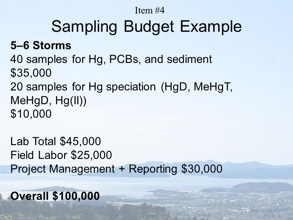 Sampling Budget Example 5–6 Storms 40 samples for Hg, PCBs, and sediment $35,000 20 samples for Hg speciation (HgD, MeHgT, MeHgD, Hg(II)) $10,000 Lab Total $45,000 Field Labor $25,000 Project Management + Reporting $30,000 Overall $100,000 Item #4