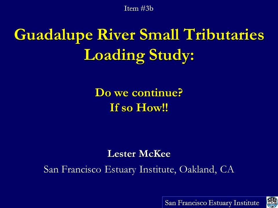 Guadalupe River Small Tributaries Loading Study: Do we continue.