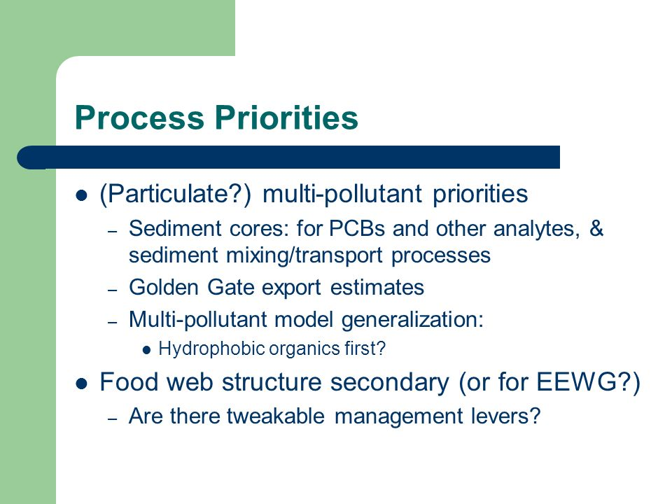 #2: Persistent Particulate Pollutant Process Priorities What patterns of impairment are forecast for persistent, particle-associated pollutants for major segments and the Estuary as a whole under various management scenarios.