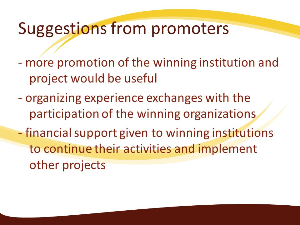Suggestions from promoters - more promotion of the winning institution and project would be useful - organizing experience exchanges with the particip