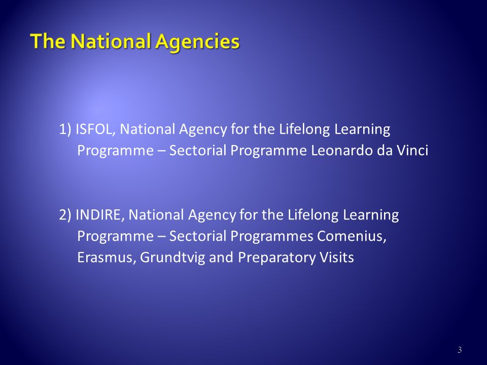 3 1) ISFOL, National Agency for the Lifelong Learning Programme – Sectorial Programme Leonardo da Vinci 2) INDIRE, National Agency for the Lifelong Learning Programme – Sectorial Programmes Comenius, Erasmus, Grundtvig and Preparatory Visits