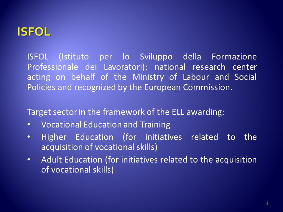 5 INDIRE (Istituto Nazionale di Documentazione, Innovazione e Ricerca Educativa) aims at developing the processes of innovation and research in the educational field.