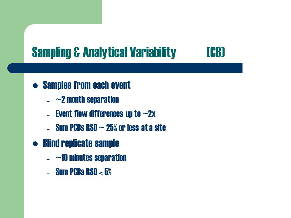 Sampling & Analytical Variability (CB) Samples from each event – ~2 month separation – Event flow differences up to ~2x – Sum PCBs RSD ~ 25% or less at a site Blind replicate sample – ~10 minutes separation – Sum PCBs RSD < 5%