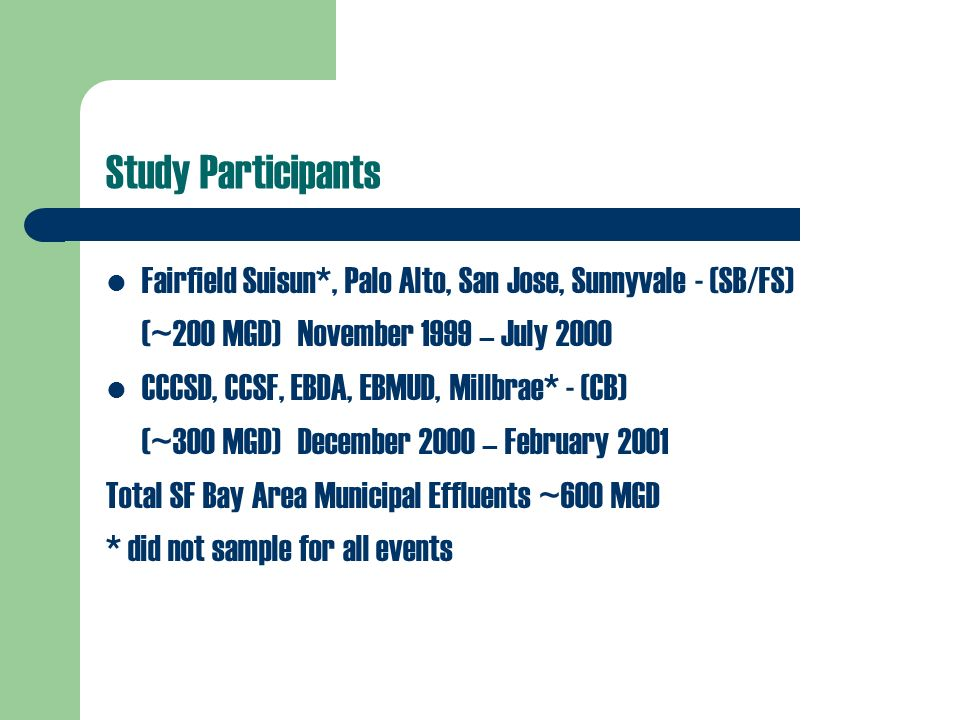 Study Participants Fairfield Suisun*, Palo Alto, San Jose, Sunnyvale - (SB/FS) (~200 MGD)November 1999 – July 2000 CCCSD, CCSF, EBDA, EBMUD, Millbrae* - (CB) (~300 MGD)December 2000 – February 2001 Total SF Bay Area Municipal Effluents ~600 MGD * did not sample for all events