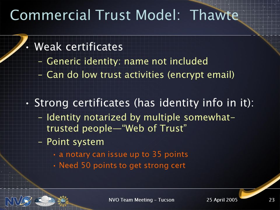 25 April 2005NVO Team Meeting - Tucson23 Commercial Trust Model: Thawte Weak certificates –Generic identity: name not included –Can do low trust activities (encrypt  ) Strong certificates (has identity info in it): –Identity notarized by multiple somewhat- trusted peopleWeb of Trust –Point system a notary can issue up to 35 points Need 50 points to get strong cert