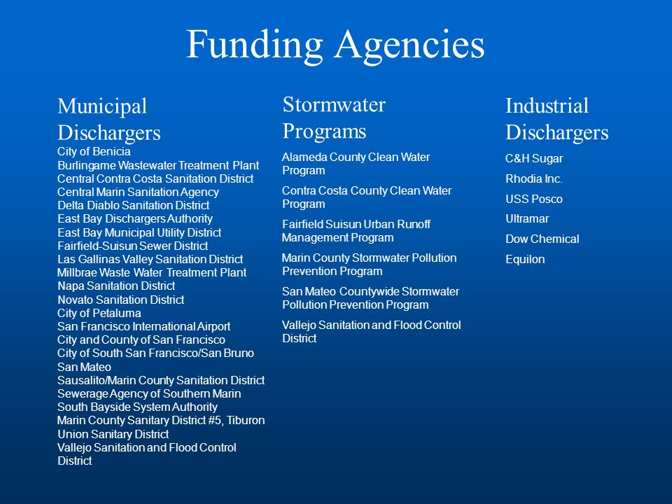Funding Agencies Municipal Dischargers City of Benicia Burlingame Wastewater Treatment Plant Central Contra Costa Sanitation District Central Marin Sanitation Agency Delta Diablo Sanitation District East Bay Dischargers Authority East Bay Municipal Utility District Fairfield-Suisun Sewer District Las Gallinas Valley Sanitation District Millbrae Waste Water Treatment Plant Napa Sanitation District Novato Sanitation District City of Petaluma San Francisco International Airport City and County of San Francisco City of South San Francisco/San Bruno San Mateo Sausalito/Marin County Sanitation District Sewerage Agency of Southern Marin South Bayside System Authority Marin County Sanitary District #5, Tiburon Union Sanitary District Vallejo Sanitation and Flood Control District Industrial Dischargers C&H Sugar Rhodia Inc.