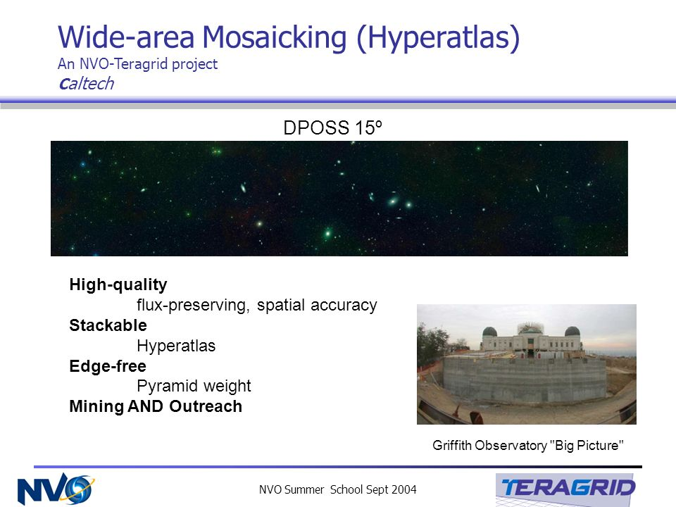 NVO Summer School Sept 2004 Wide-area Mosaicking (Hyperatlas) An NVO-Teragrid project C altech High-quality flux-preserving, spatial accuracy Stackable Hyperatlas Edge-free Pyramid weight Mining AND Outreach DPOSS 15º Griffith Observatory Big Picture