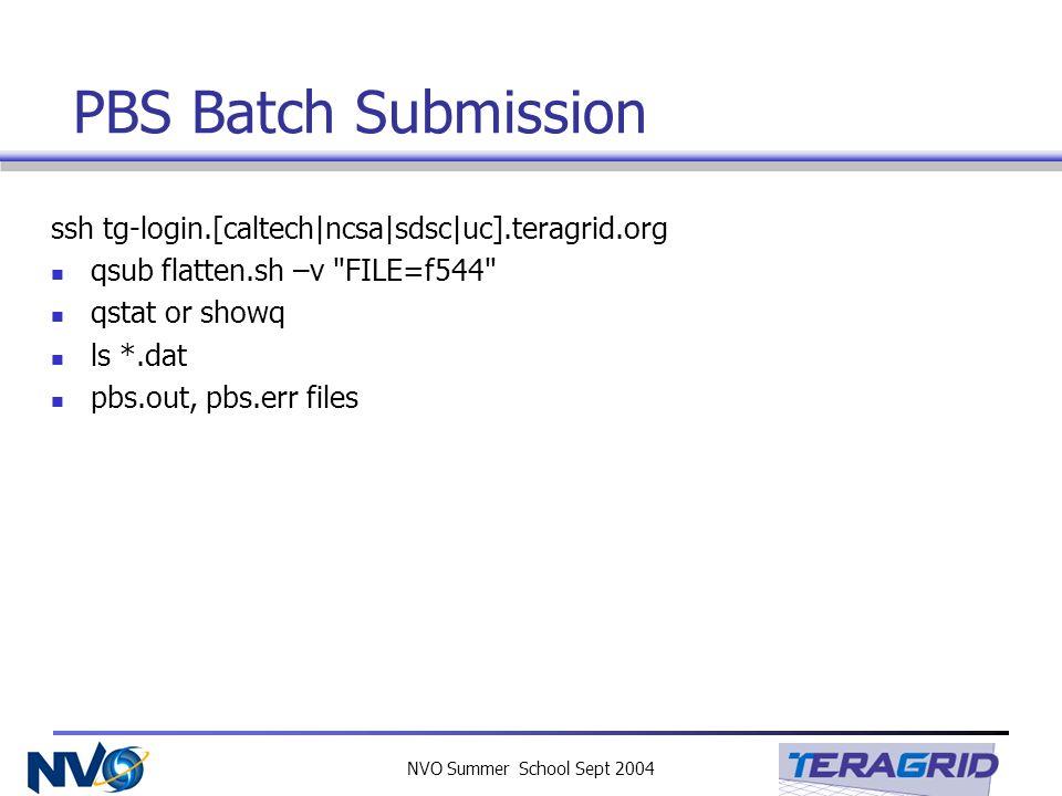 NVO Summer School Sept 2004 PBS Batch Submission ssh tg-login.[caltech|ncsa|sdsc|uc].teragrid.org qsub flatten.sh –v