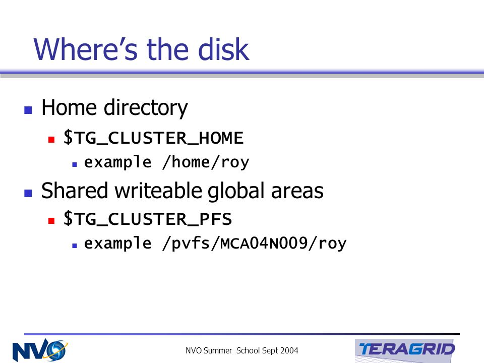 NVO Summer School Sept 2004 Wheres the disk Home directory $TG_CLUSTER_HOME example /home/roy Shared writeable global areas $TG_CLUSTER_PFS example /p