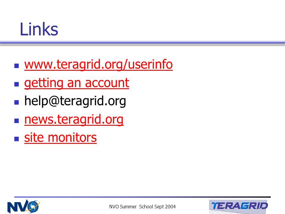 NVO Summer School Sept 2004 Links www.teragrid.org/userinfo getting an account help@teragrid.org news.teragrid.org site monitors