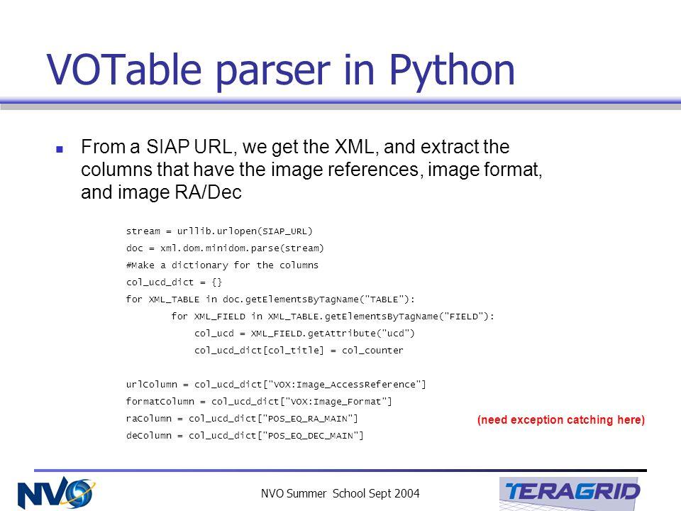 NVO Summer School Sept 2004 VOTable parser in Python stream = urllib.urlopen(SIAP_URL) doc = xml.dom.minidom.parse(stream) #Make a dictionary for the