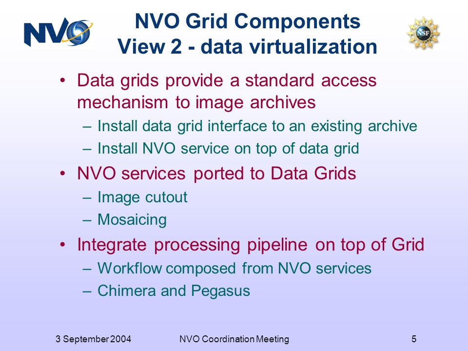 3 September 2004NVO Coordination Meeting5 NVO Grid Components View 2 - data virtualization Data grids provide a standard access mechanism to image archives –Install data grid interface to an existing archive –Install NVO service on top of data grid NVO services ported to Data Grids –Image cutout –Mosaicing Integrate processing pipeline on top of Grid –Workflow composed from NVO services –Chimera and Pegasus