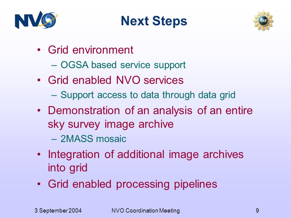 3 September 2004NVO Coordination Meeting9 Next Steps Grid environment –OGSA based service support Grid enabled NVO services –Support access to data through data grid Demonstration of an analysis of an entire sky survey image archive –2MASS mosaic Integration of additional image archives into grid Grid enabled processing pipelines