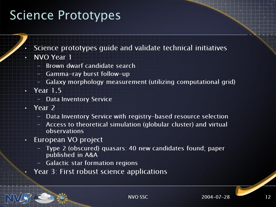 2004-07-28NVO SSC12 Science Prototypes Science prototypes guide and validate technical initiatives NVO Year 1 –Brown dwarf candidate search –Gamma-ray