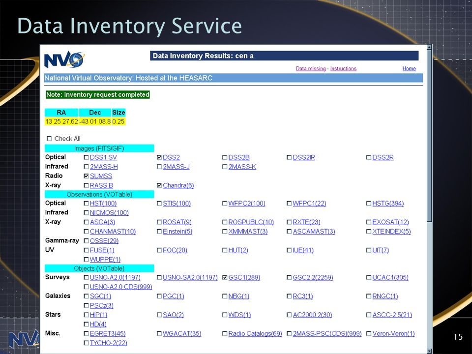2004-07-28NVO SSC15 Data Inventory Service