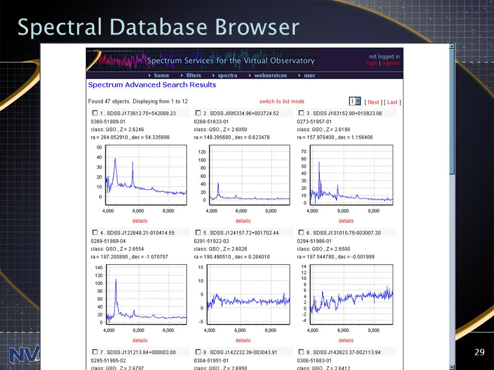 2004-07-28NVO SSC29 Spectral Database Browser